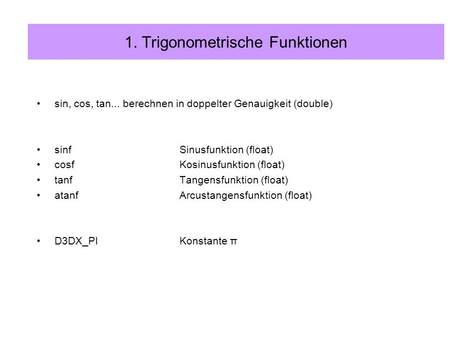 1. Trigonometrische Funktionen sin, cos, tan...