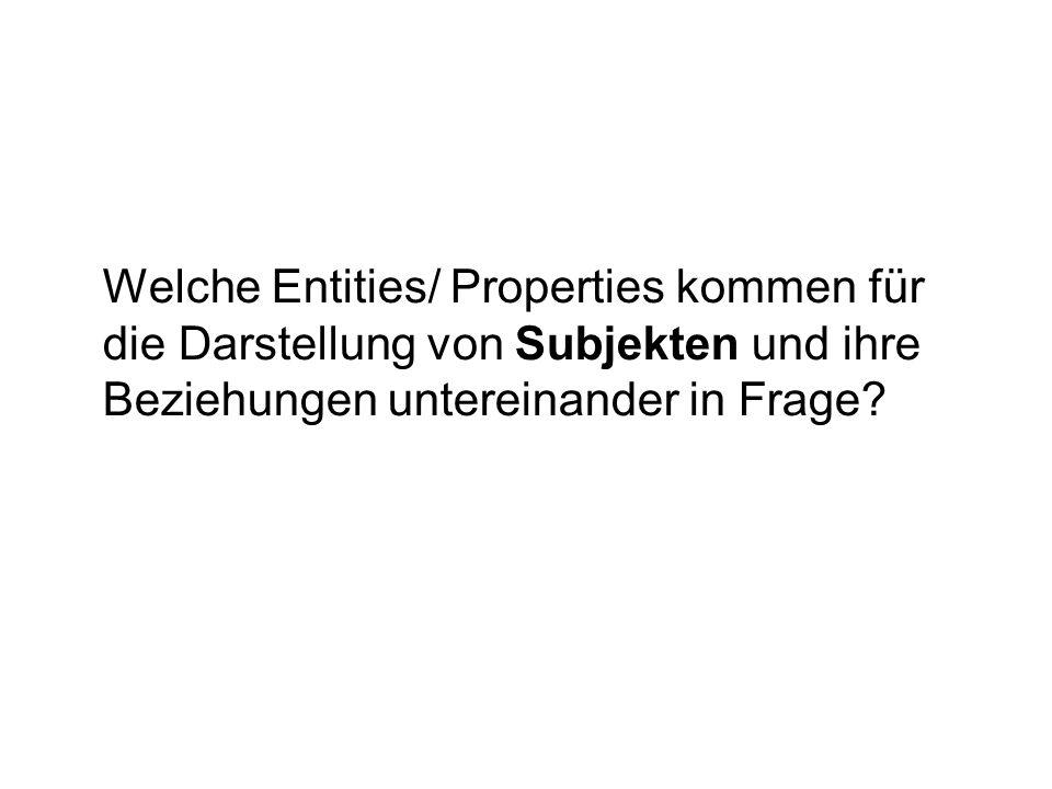 Welche Entities/ Properties kommen für die Darstellung von Subjekten und ihre Beziehungen untereinander in Frage