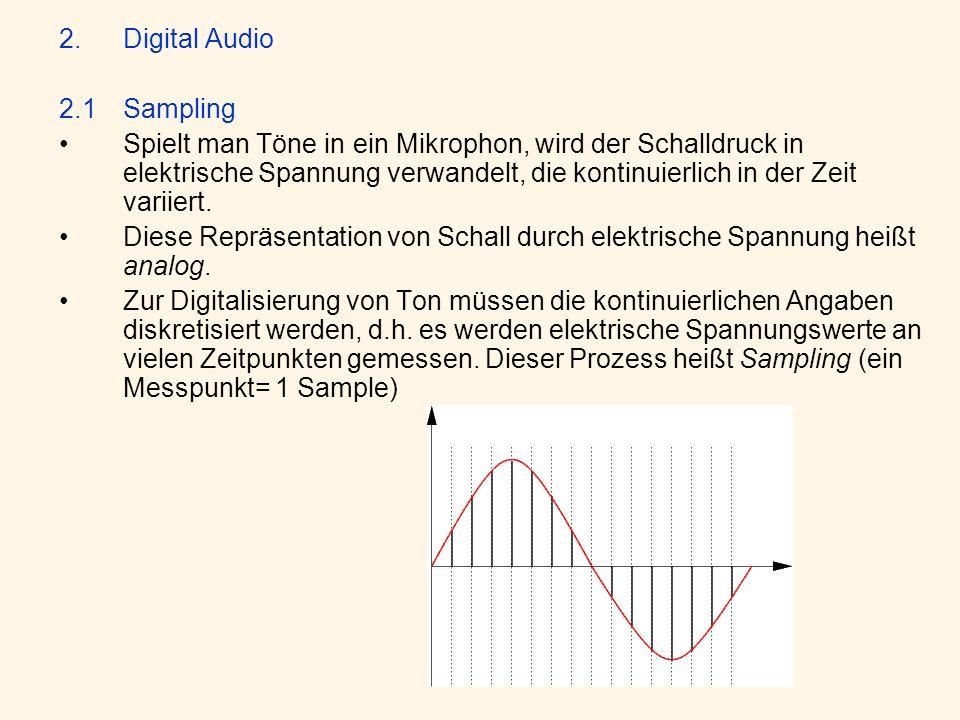 2.Digital Audio 2.1Sampling Spielt man Töne in ein Mikrophon, wird der Schalldruck in elektrische Spannung verwandelt, die kontinuierlich in der Zeit variiert.