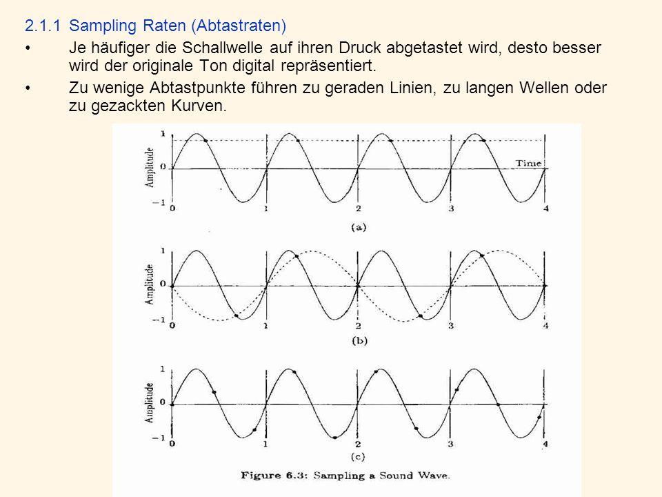 2.1.1Sampling Raten (Abtastraten) Je häufiger die Schallwelle auf ihren Druck abgetastet wird, desto besser wird der originale Ton digital repräsentiert.