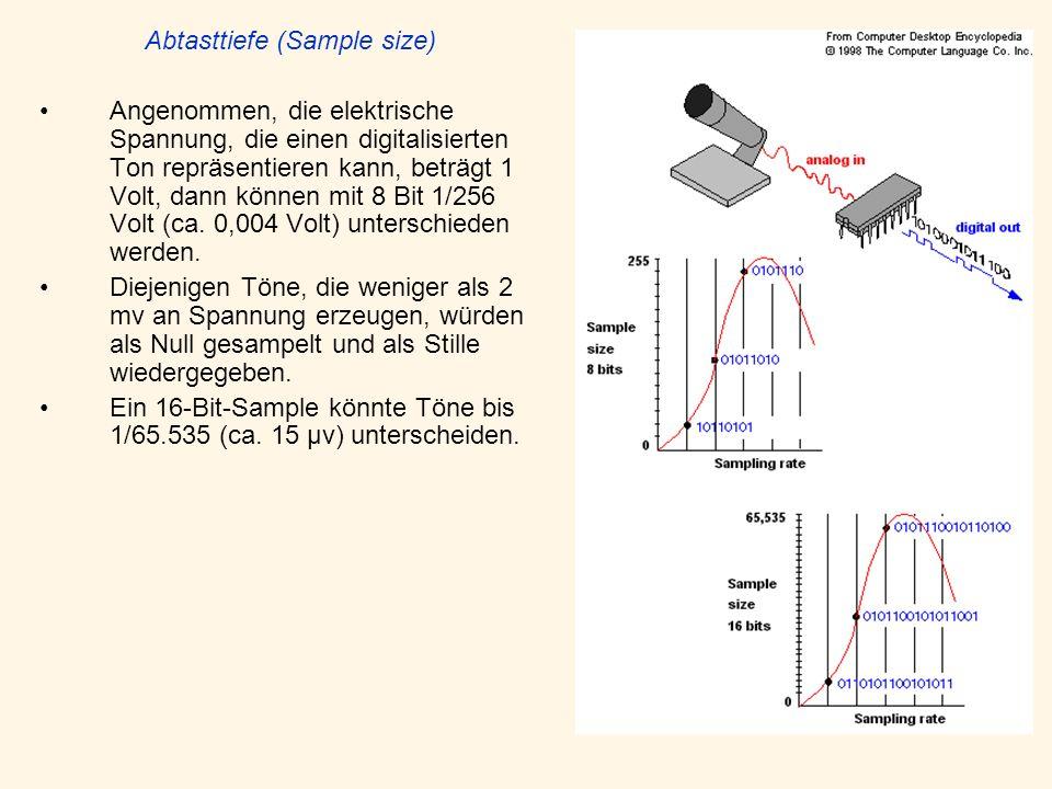 Abtasttiefe (Sample size) Angenommen, die elektrische Spannung, die einen digitalisierten Ton repräsentieren kann, beträgt 1 Volt, dann können mit 8 Bit 1/256 Volt (ca.
