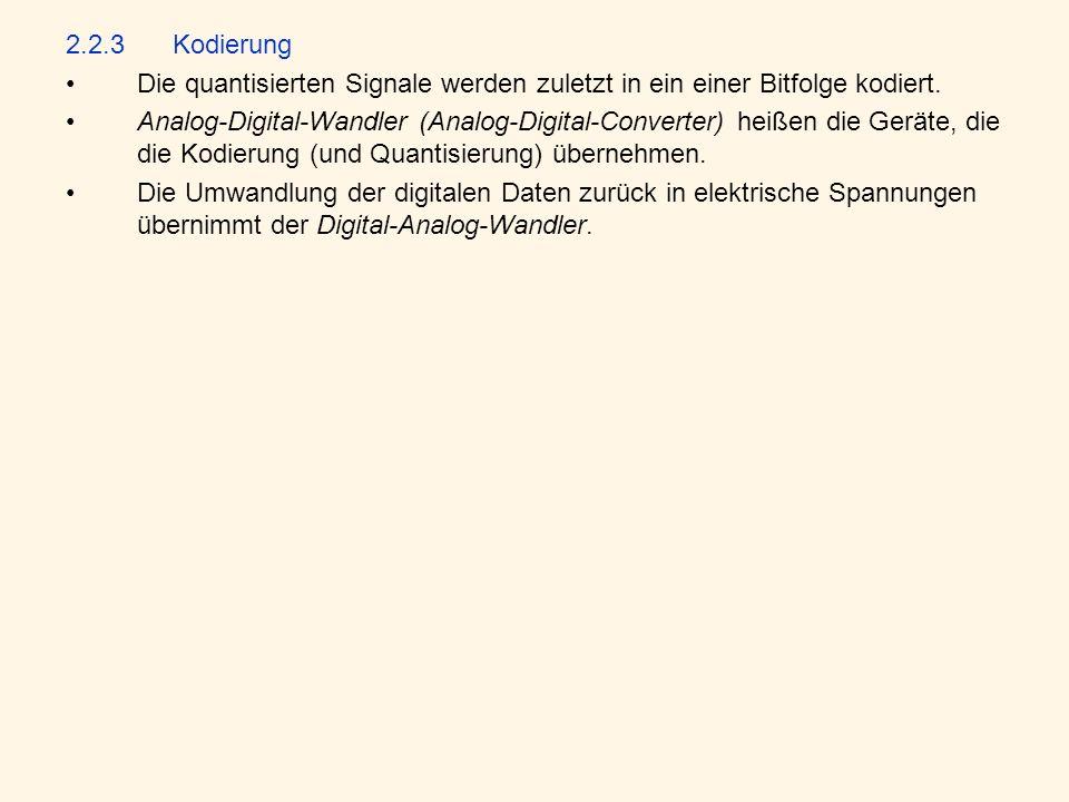 2.2.3Kodierung Die quantisierten Signale werden zuletzt in ein einer Bitfolge kodiert.
