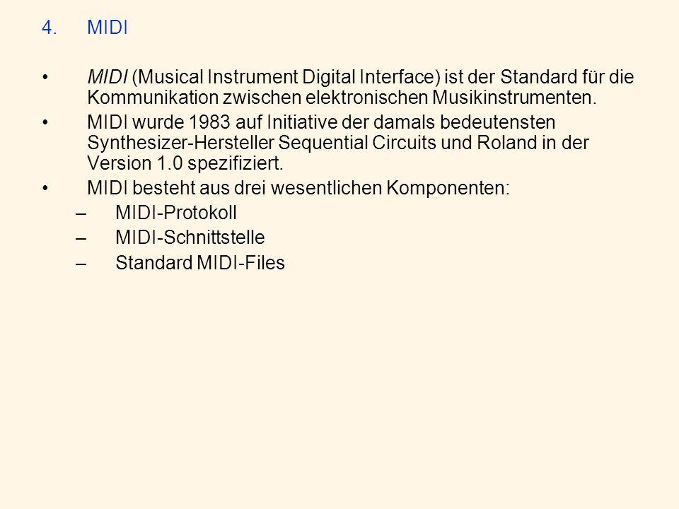 4.MIDI MIDI (Musical Instrument Digital Interface) ist der Standard für die Kommunikation zwischen elektronischen Musikinstrumenten.