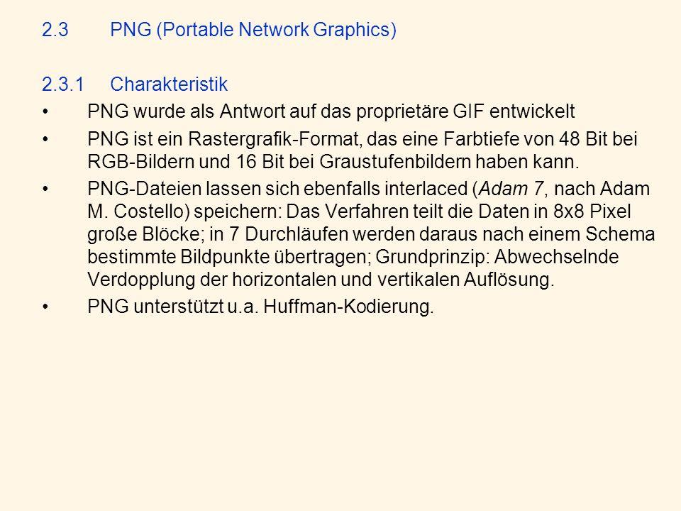 2.3.2Aufbau einer PNG-File Eine PNG-Datei hat einen blockweisen Aufbau, der aus sogenannten chunks (Blöcke) besteht.