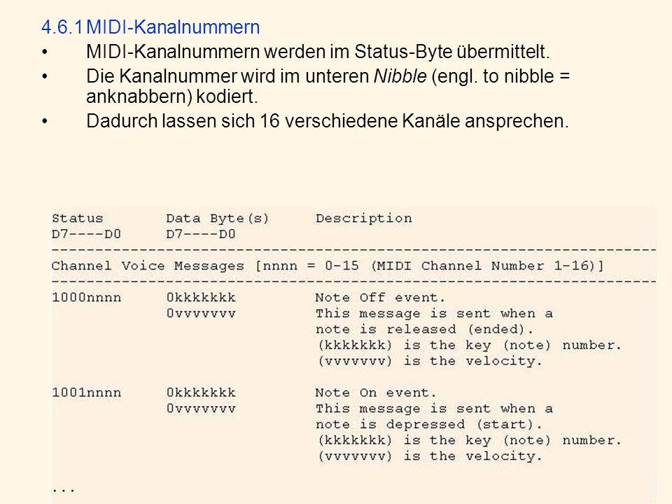4.6.1MIDI-Kanalnummern MIDI-Kanalnummern werden im Status-Byte übermittelt.
