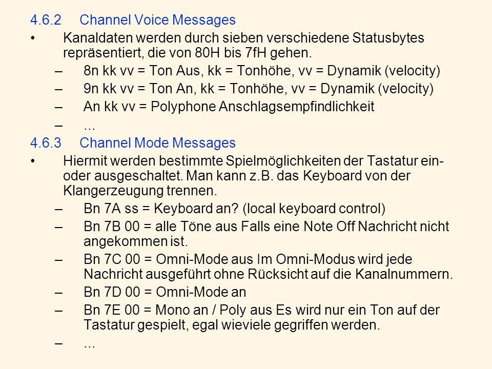 4.6.2Channel Voice Messages Kanaldaten werden durch sieben verschiedene Statusbytes repräsentiert, die von 80H bis 7fH gehen.