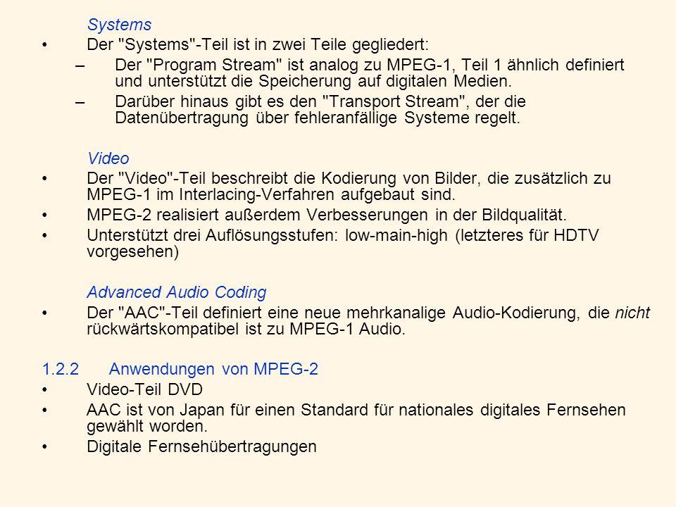 Systems Der Systems -Teil ist in zwei Teile gegliedert: –Der Program Stream ist analog zu MPEG-1, Teil 1 ähnlich definiert und unterstützt die Speicherung auf digitalen Medien.