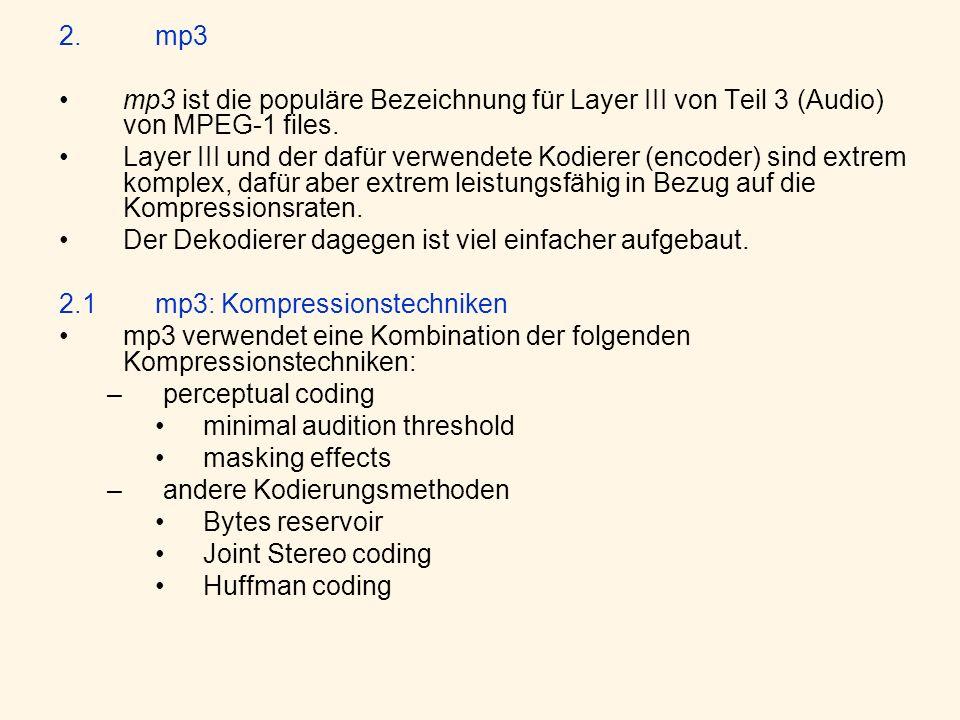 2.mp3 mp3 ist die populäre Bezeichnung für Layer III von Teil 3 (Audio) von MPEG-1 files.