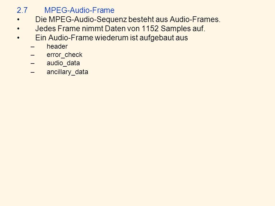 2.7MPEG-Audio-Frame Die MPEG-Audio-Sequenz besteht aus Audio-Frames.