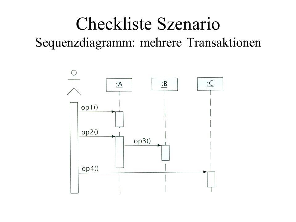Checkliste Szenario Sequenzdiagramm: mehrere Transaktionen