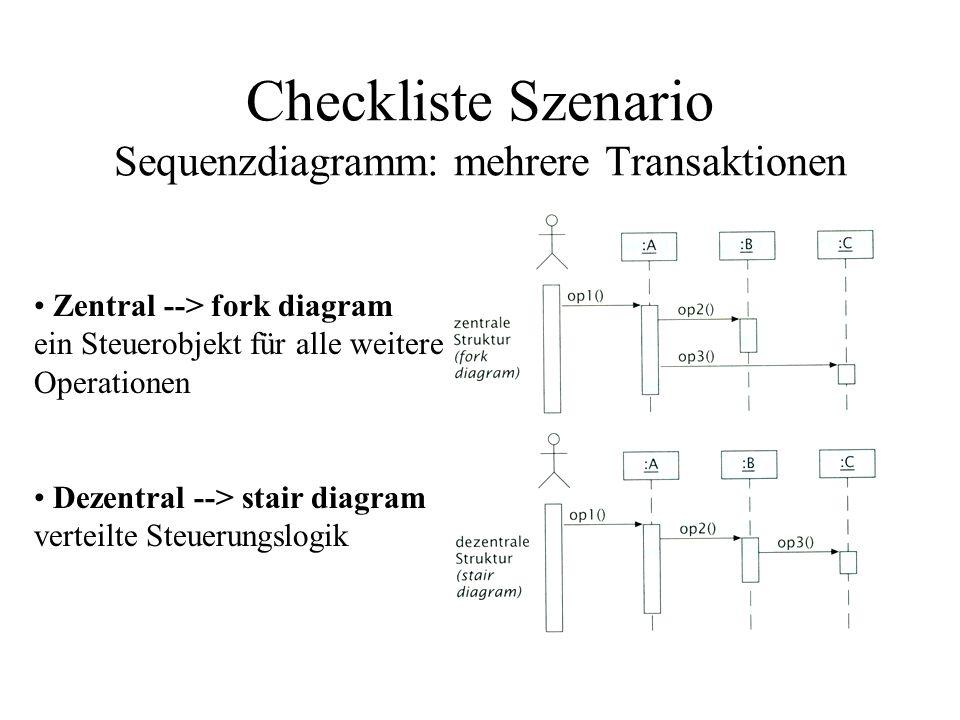Zentral --> fork diagram ein Steuerobjekt für alle weitere Operationen Dezentral --> stair diagram verteilte Steuerungslogik