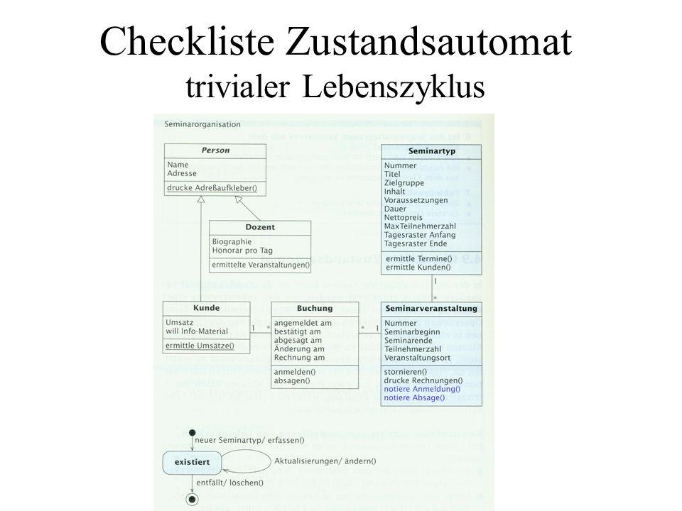 Checkliste Zustandsautomat trivialer Lebenszyklus