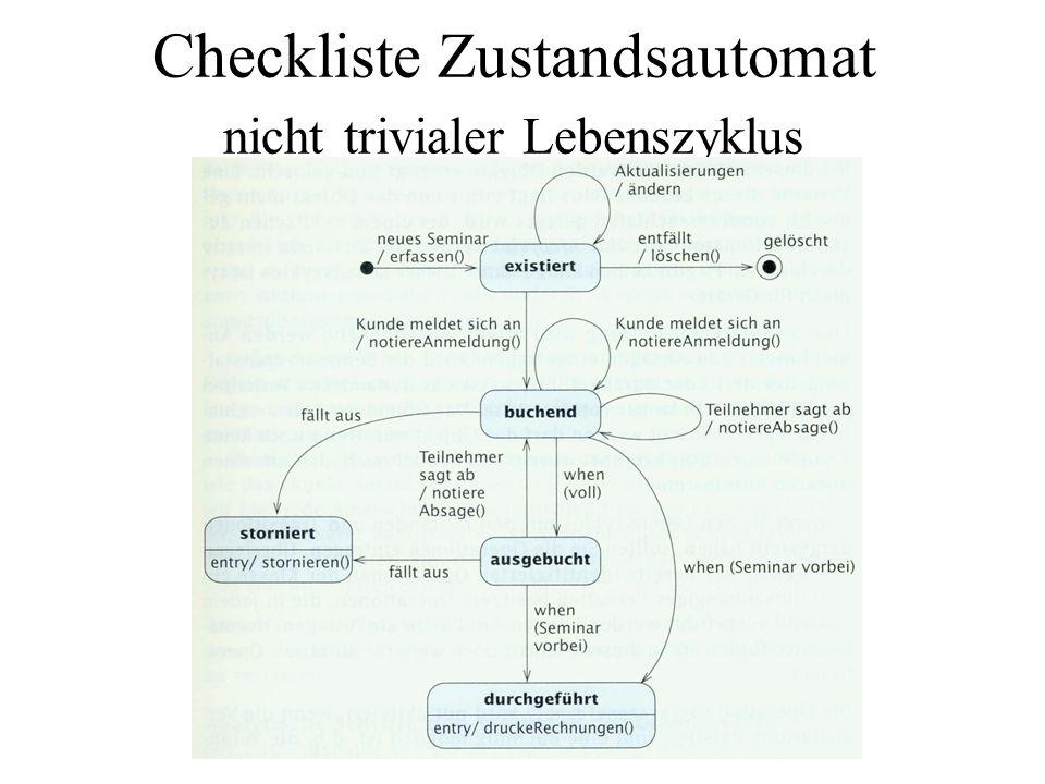 Checkliste Zustandsautomat nicht trivialer Lebenszyklus