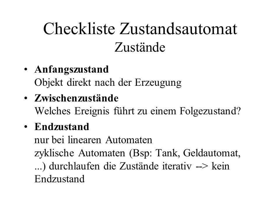 Checkliste Zustandsautomat Zustände Anfangszustand Objekt direkt nach der Erzeugung Zwischenzustände Welches Ereignis führt zu einem Folgezustand? End