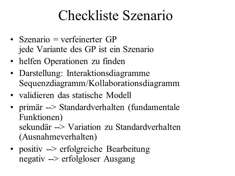 Checkliste Szenario Szenario = verfeinerter GP jede Variante des GP ist ein Szenario helfen Operationen zu finden Darstellung: Interaktionsdiagramme Sequenzdiagramm/Kollaborationsdiagramm validieren das statische Modell primär --> Standardverhalten (fundamentale Funktionen) sekundär --> Variation zu Standardverhalten (Ausnahmeverhalten) positiv --> erfolgreiche Bearbeitung negativ --> erfolgloser Ausgang
