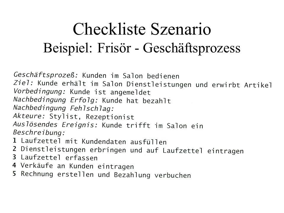Checkliste Szenario Beispiel: Frisör - Klassendiagramm