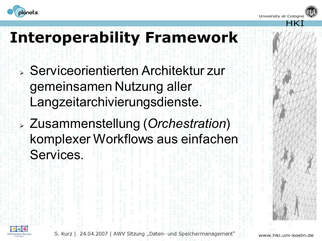 Interoperability Framework Serviceorientierten Architektur zur gemeinsamen Nutzung aller Langzeitarchivierungsdienste.