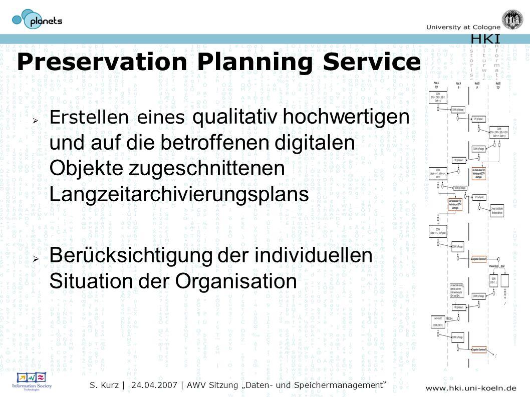 Preservation Planning Service Erstellen eines qualitativ hochwertigen und auf die betroffenen digitalen Objekte zugeschnittenen Langzeitarchivierungsplans Berücksichtigung der individuellen Situation der Organisation S.