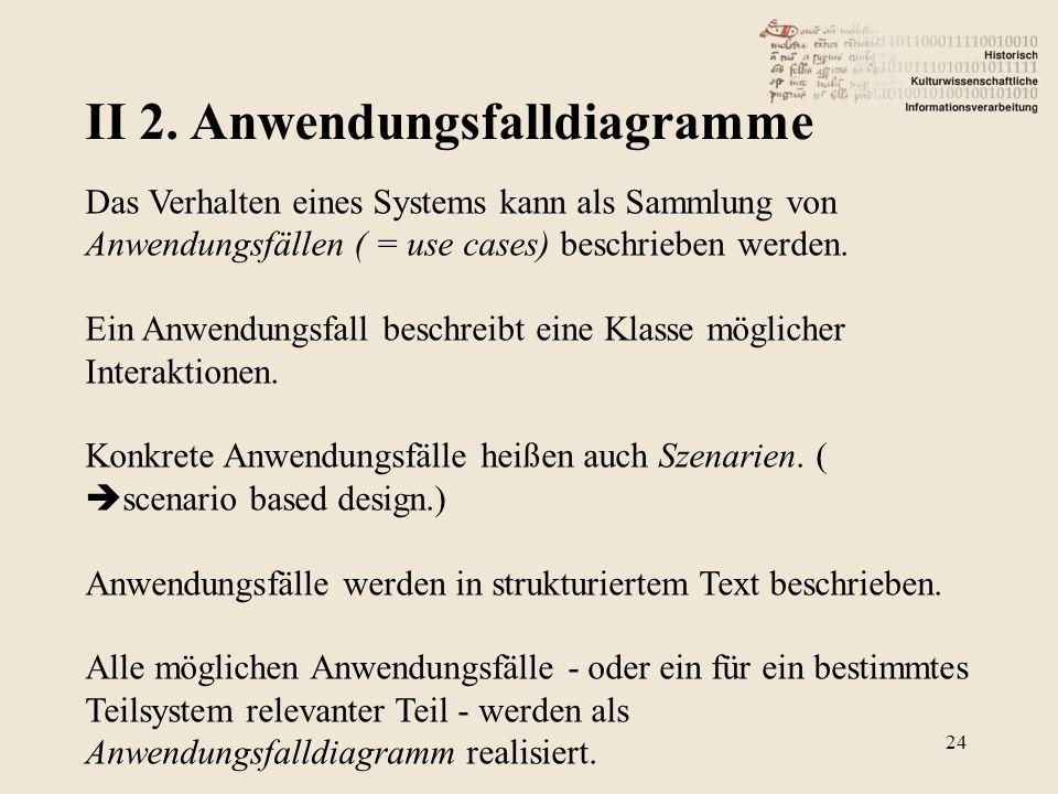 II 2. Anwendungsfalldiagramme 24 Das Verhalten eines Systems kann als Sammlung von Anwendungsfällen ( = use cases) beschrieben werden. Ein Anwendungsf