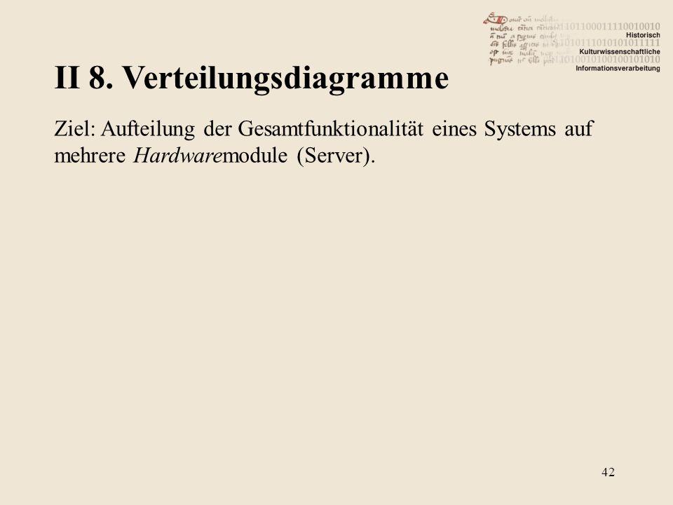 II 8. Verteilungsdiagramme 42 Ziel: Aufteilung der Gesamtfunktionalität eines Systems auf mehrere Hardwaremodule (Server).
