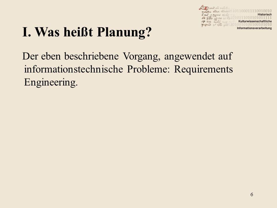 6 Der eben beschriebene Vorgang, angewendet auf informationstechnische Probleme: Requirements Engineering.