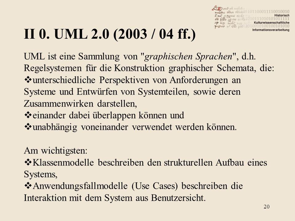 II 0. UML 2.0 (2003 / 04 ff.) 20 UML ist eine Sammlung von