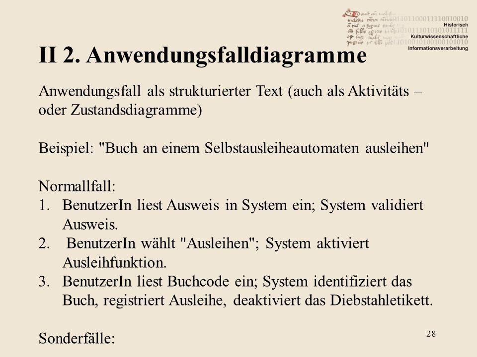 II 2. Anwendungsfalldiagramme 28 Anwendungsfall als strukturierter Text (auch als Aktivitäts – oder Zustandsdiagramme) Beispiel: