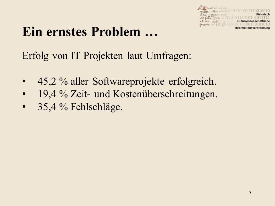 Ein ernstes Problem … 5 Erfolg von IT Projekten laut Umfragen: 45,2 % aller Softwareprojekte erfolgreich. 19,4 % Zeit- und Kostenüberschreitungen. 35,
