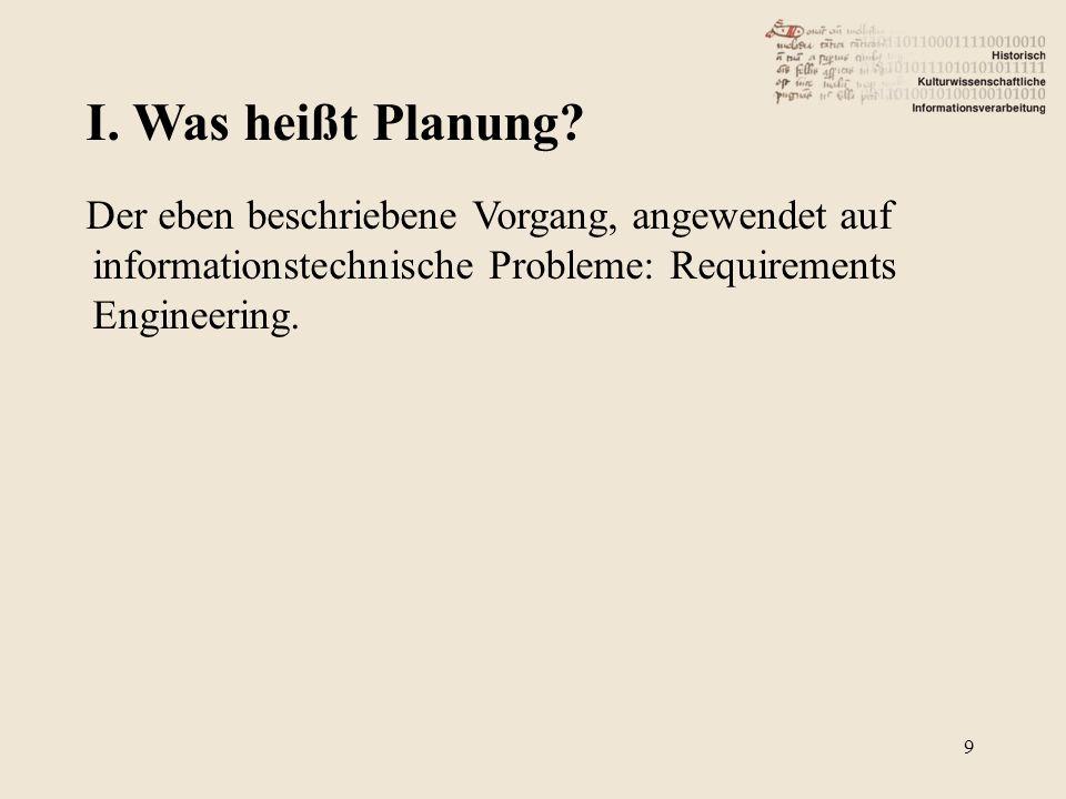 9 Der eben beschriebene Vorgang, angewendet auf informationstechnische Probleme: Requirements Engineering.