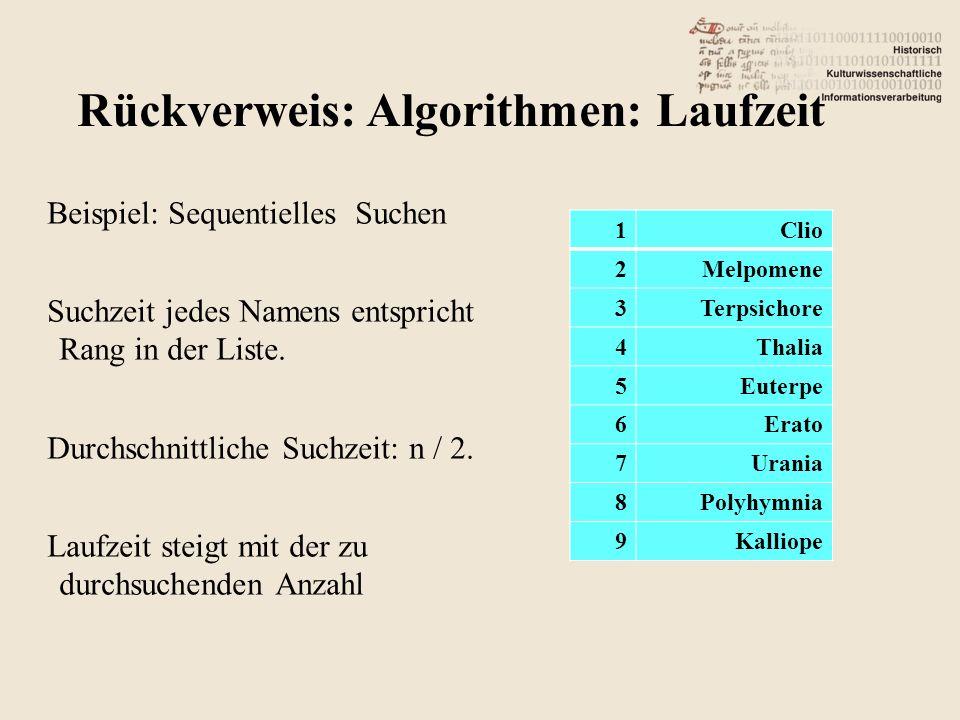 Beispiel: Sequentielles Suchen Suchzeit jedes Namens entspricht Rang in der Liste. Durchschnittliche Suchzeit: n / 2. Laufzeit steigt mit der zu durch