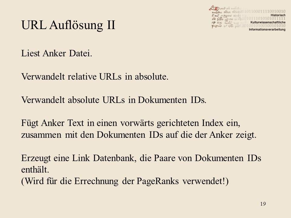 URL Auflösung II Liest Anker Datei. Verwandelt relative URLs in absolute. Verwandelt absolute URLs in Dokumenten IDs. Fügt Anker Text in einen vorwärt