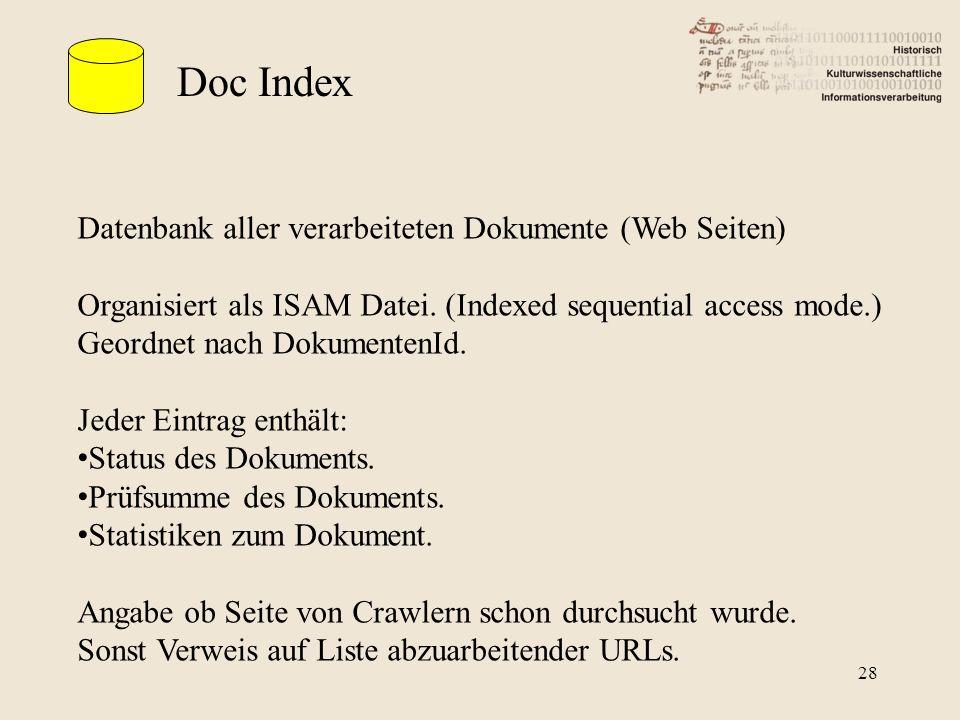 Doc Index Datenbank aller verarbeiteten Dokumente (Web Seiten) Organisiert als ISAM Datei. (Indexed sequential access mode.) Geordnet nach DokumentenI