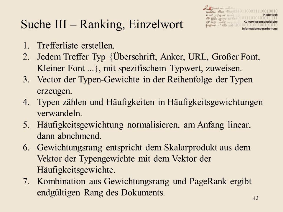 Suche III – Ranking, Einzelwort 1.Trefferliste erstellen. 2.Jedem Treffer Typ {Überschrift, Anker, URL, Großer Font, Kleiner Font...}, mit spezifische