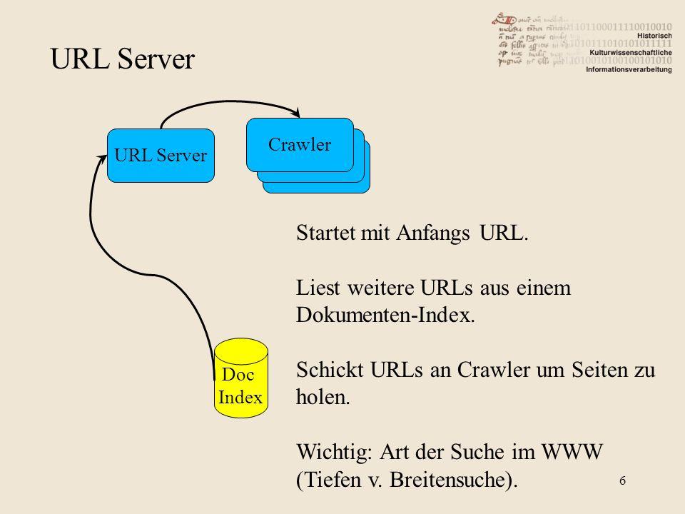 URL Server Crawler URL Server Doc Index Startet mit Anfangs URL. Liest weitere URLs aus einem Dokumenten-Index. Schickt URLs an Crawler um Seiten zu h