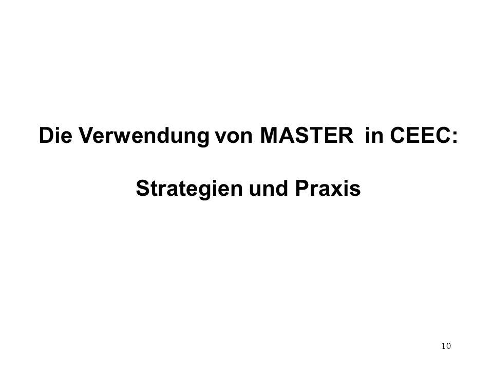 10 Die Verwendung von MASTER in CEEC: Strategien und Praxis