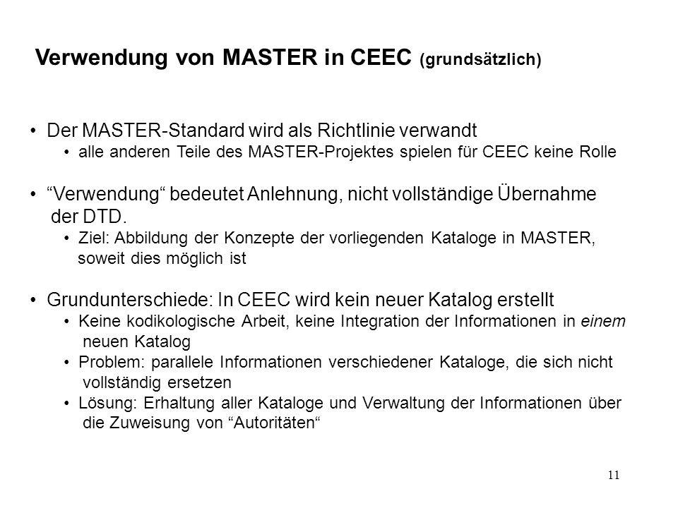 11 Verwendung von MASTER in CEEC (grundsätzlich) Der MASTER-Standard wird als Richtlinie verwandt alle anderen Teile des MASTER-Projektes spielen für CEEC keine Rolle Verwendung bedeutet Anlehnung, nicht vollständige Übernahme der DTD.