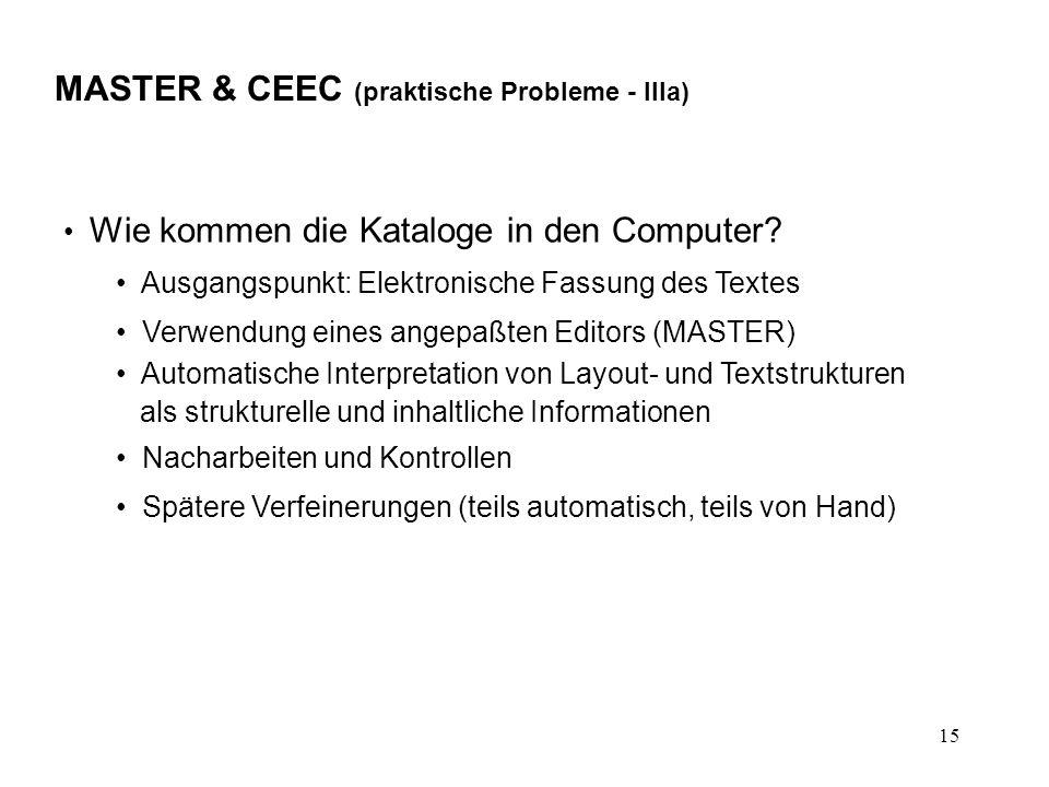 15 MASTER & CEEC (praktische Probleme - IIIa) Wie kommen die Kataloge in den Computer.