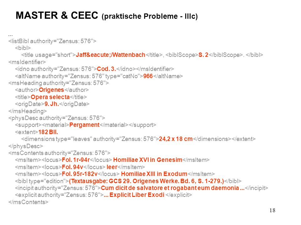 18 MASTER & CEEC (praktische Probleme - IIIc)... Jaffé/Wattenbach, S.