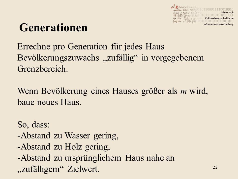 Generationen Errechne pro Generation für jedes Haus Bevölkerungszuwachs zufällig in vorgegebenem Grenzbereich.