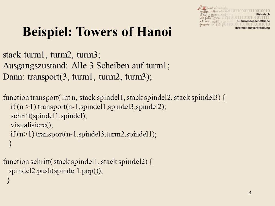 Turm1: Turm2: Turm3: Ausgangszustand der Variablen Spindel1Spindel2Spindel3 4
