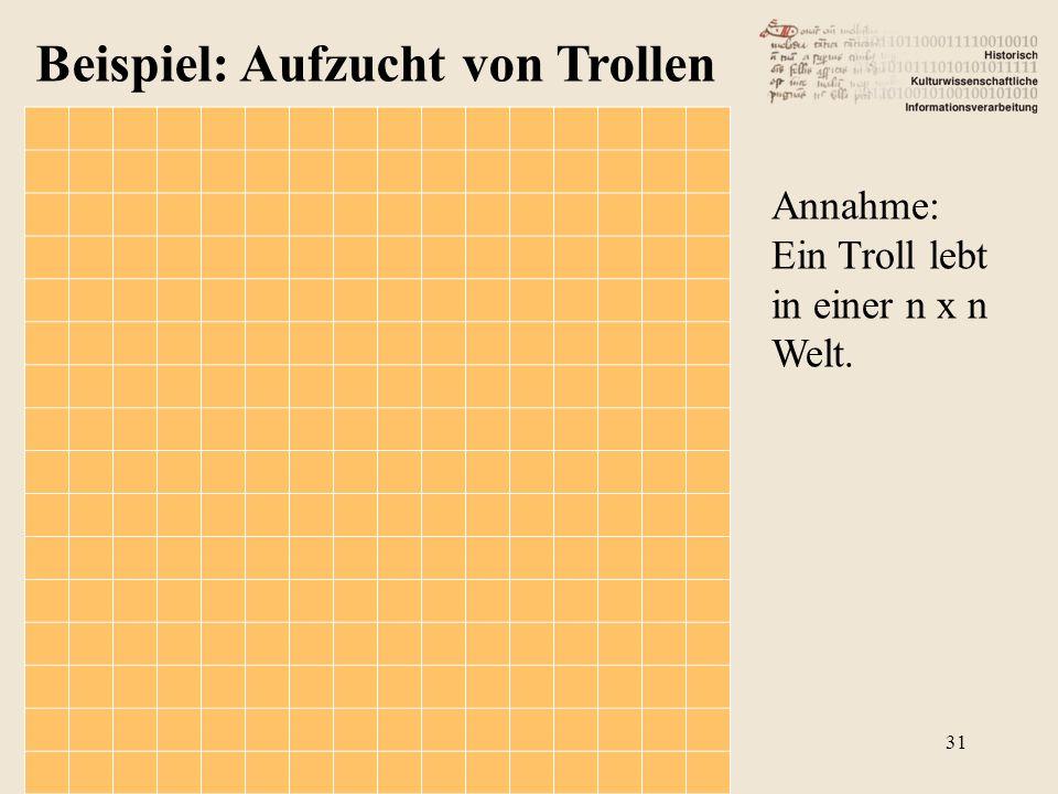 Beispiel: Aufzucht von Trollen Annahme: Ein Troll lebt in einer n x n Welt. 31