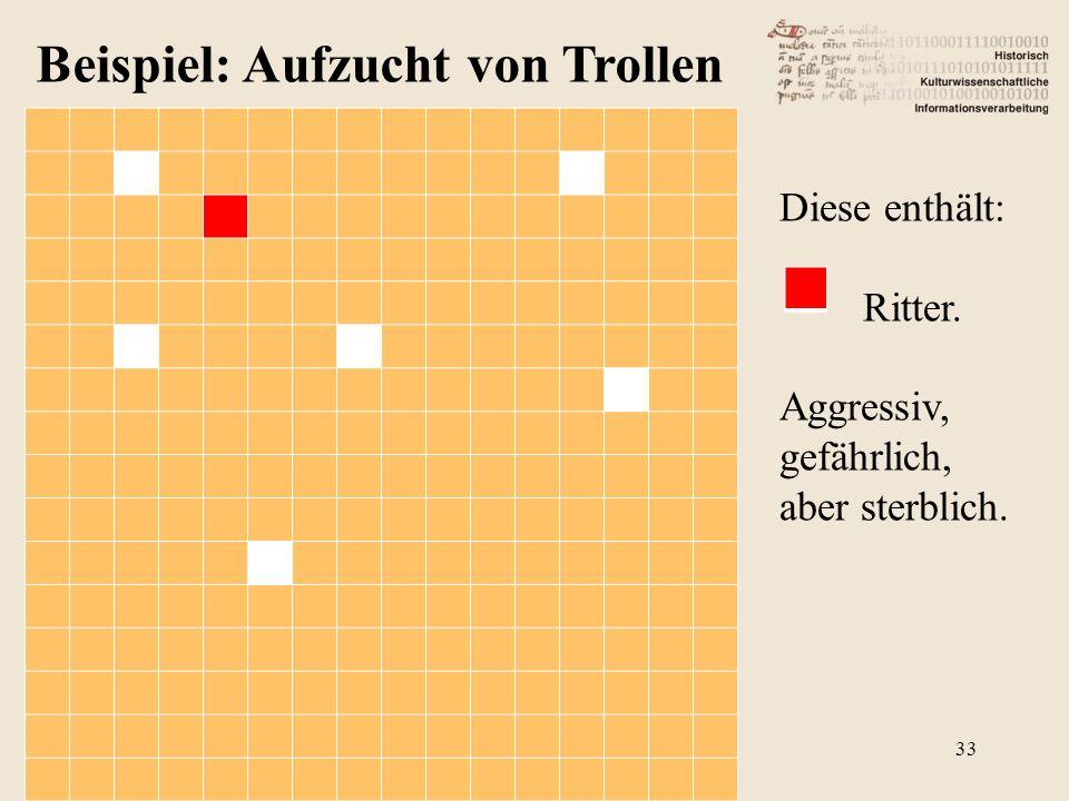 Beispiel: Aufzucht von Trollen Diese enthält: Ritter. Aggressiv, gefährlich, aber sterblich. 33