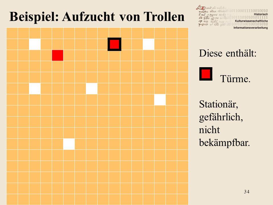 Beispiel: Aufzucht von Trollen Diese enthält: Türme. Stationär, gefährlich, nicht bekämpfbar. 34