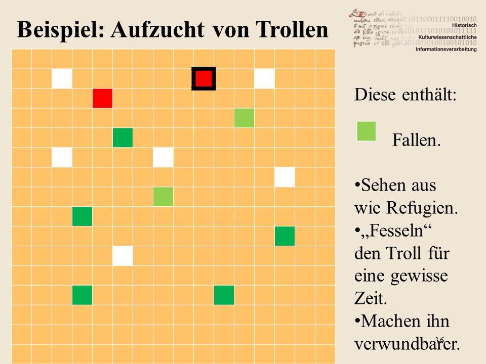 Beispiel: Aufzucht von Trollen Diese enthält: Fallen.