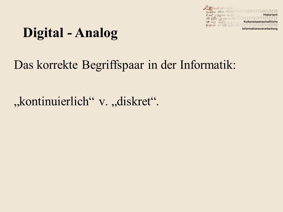 Das korrekte Begriffspaar in der Informatik: kontinuierlich v. diskret. Digital - Analog