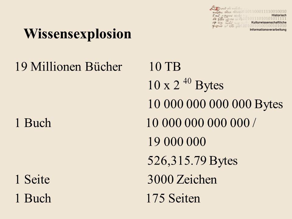 19 Millionen Bücher 10 TB 10 x 2 40 Bytes 10 000 000 000 000 Bytes 1 Buch 10 000 000 000 000 / 19 000 000 526,315.79 Bytes 1 Seite 3000 Zeichen 1 Buch 175 Seiten Wissensexplosion