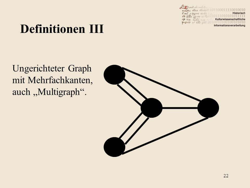 Definitionen III Ungerichteter Graph mit Mehrfachkanten, auch Multigraph. 22