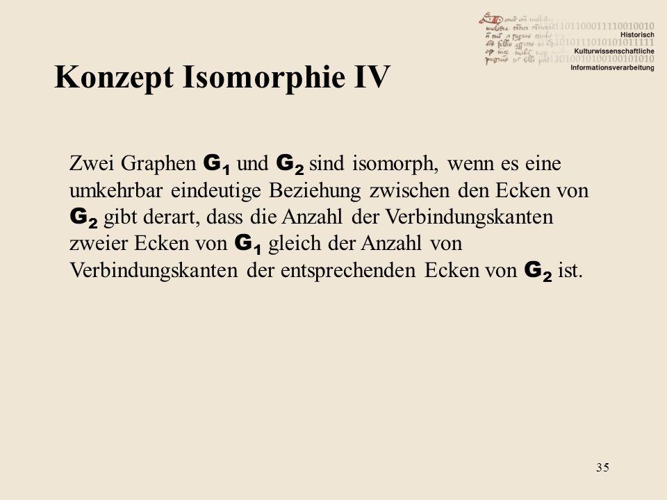 Konzept Isomorphie IV Zwei Graphen G 1 und G 2 sind isomorph, wenn es eine umkehrbar eindeutige Beziehung zwischen den Ecken von G 2 gibt derart, dass die Anzahl der Verbindungskanten zweier Ecken von G 1 gleich der Anzahl von Verbindungskanten der entsprechenden Ecken von G 2 ist.