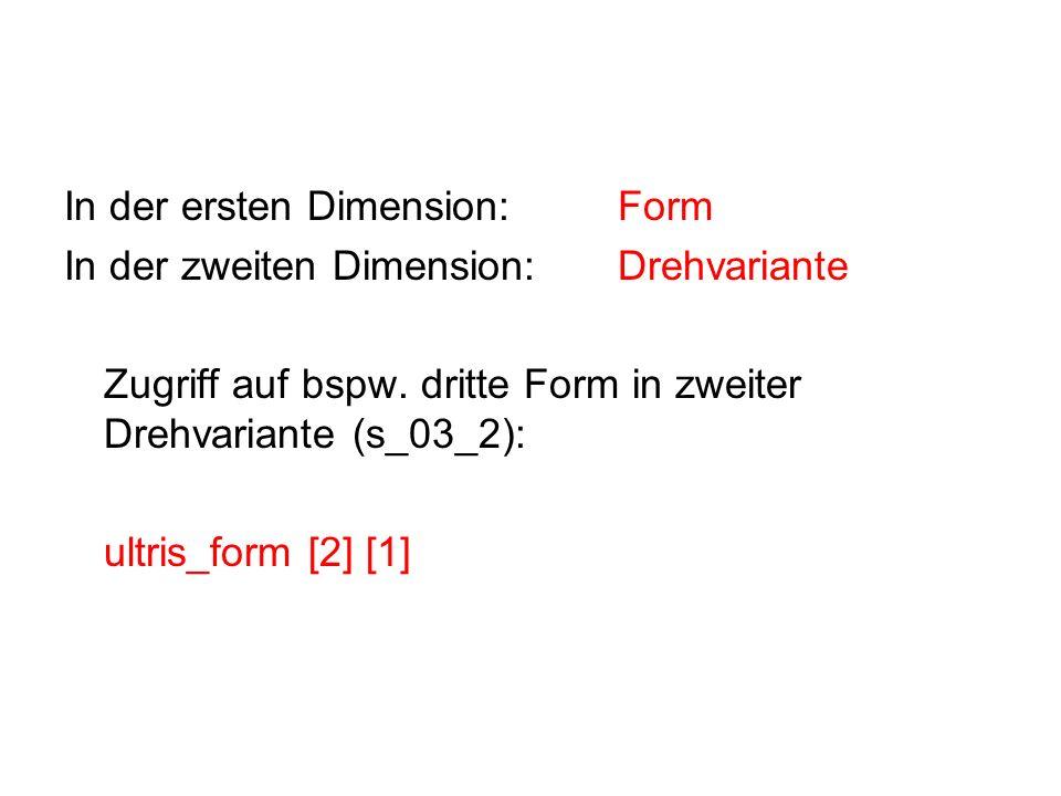 In der ersten Dimension: Form In der zweiten Dimension: Drehvariante Zugriff auf bspw.