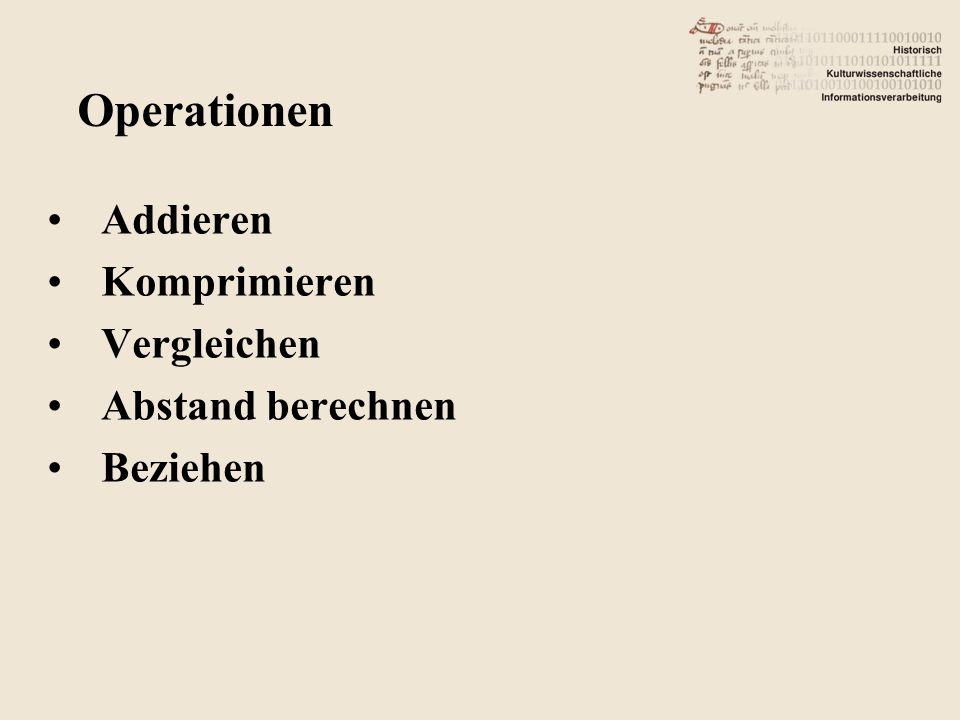 Addieren Komprimieren Vergleichen Abstand berechnen Beziehen Operationen